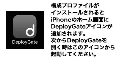 構成プロファイルがインストールされるとiPhoneのホーム画面にDeployGateアイコンが追加されます。次からDeployGateを開く時はこのアイコンから起動してください。