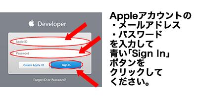 Appleアカウントの ・メールアドレス ・パスワード を入力して青い「Sign In」ボタンをクリックしてください。