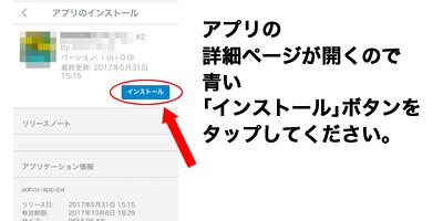 アプリの詳細ページが開くので青い「インストール」ボタンをタップしてください。